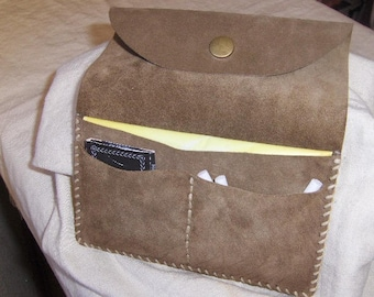 Taupe suede tobacco pouch