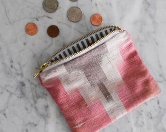 Zipper Bag, Red Ikat Sewing Storage, Diaper Bag Organizer, Toiletry Storage, Zipper Pouch, Cosmetic Bag, Small Purse, Coin Purse