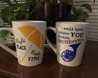 How I met your Mother - Mugs- Blue Horn  (stolen orchestra) Yellow Umbrella (right place) couple mug set