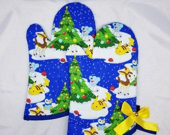 Snowy Christmas Pokemon Oven Mitts