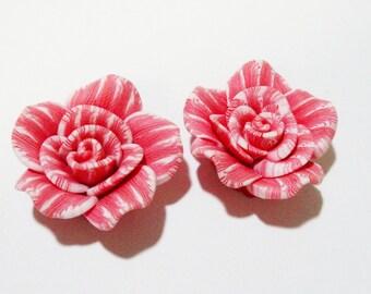 Pink Neon Green Soft Polymer Hawaii Flowers Pendants Focal Beads 2 Flowers