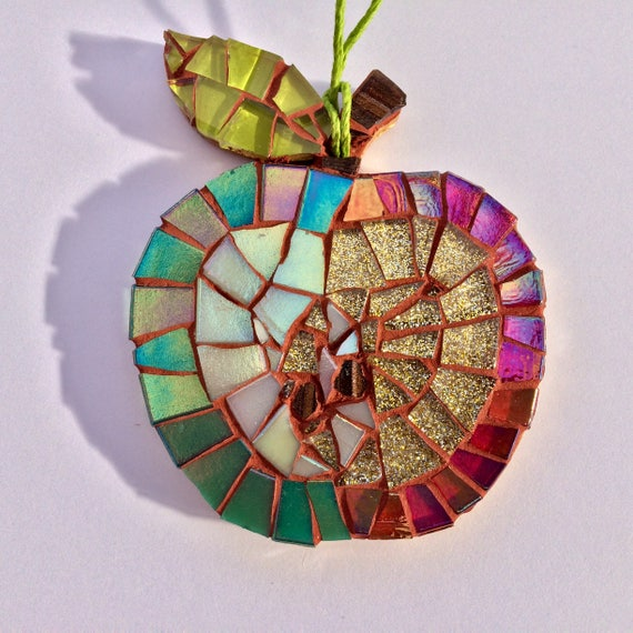 Handmade glass mosaic hanging apple Unique gift idea Kitchen decor Gift for her