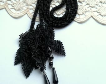 Tie Necklace, Black Necklace, Beaded Lariat, Long Lariat Rope Necklace, Crochet Lariat, Unique Necklace, Beadwork Necklace
