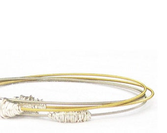 Bangle Bracelet Stack // Set of 4 Bracelets // Silver & Gold Stacking Bangles // Eco-Friendly Jewelry / Guitar String Bracelets / Music Gift
