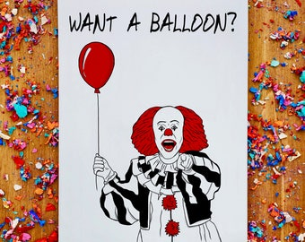 Pennywise card, funny birthday card, pennywise gift, pennywise the clown, Funny brother card, cool birthday card