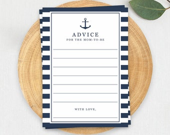 Baby Shower Advice Cards Advice for Mommy to be Nautical Baby Shower Advice Baby Shower Game Printable Advice for Parents to be Download NS1