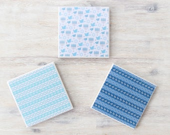 Hanukkah Ceramic Tile Coasters