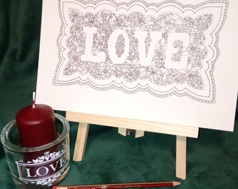 Love | Colouring Page | Instant Printable A4 PDF file