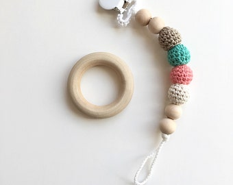 Sofie Clip - Crocheted Beads Pacifier Clip -- Eco-friendly pacifier clip -- crocheted wooden beads -- Baby Teether
