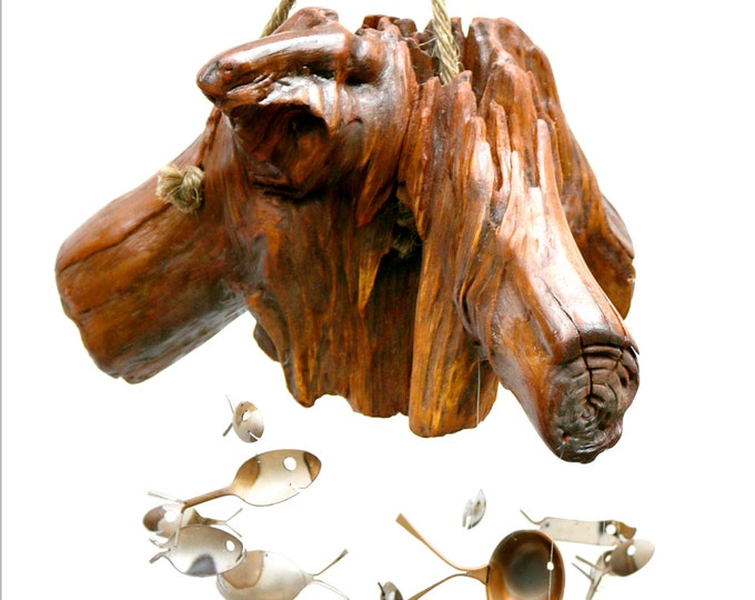 Guardian Of The Forest, #102 Large Musical Sculpture Windchime, Ooak Rustic Driftwood And Silver Spoon Fish