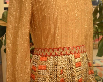 Vintage 1960s 1970s L'Aiglon gold metallic long sleeve formal gown brocade maxi dress S / M small medium