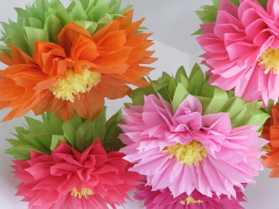Tropical bloom 7 giant paper flowers wedding baby bridal 7 giant paper flowers wedding baby bridal shower decorations birthday party photo prop dessert table wonderland mightylinksfo Images
