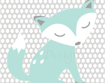 Fox Nursery Decor, Woodland Nursery Art, Gender Neutral Nursery Decor, Aqua and Gray Nursery, Fox Nursery Art, Woodland Nursery Decor