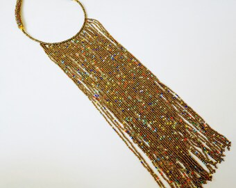 Beaded Fringe Necklace - Gold & Multicolor