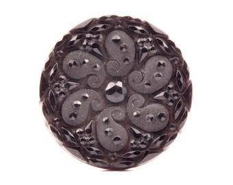 Large 32mm antique Victorian 1900's Czech faux rhinestone flower black glass button 0121-102