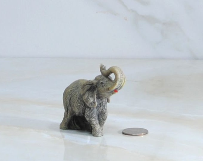 Vintage Elephant, Miniature Brown Resin Statue
