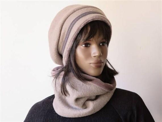 chapeau b ret femme hiver vintage en laine bouillie noir et. Black Bedroom Furniture Sets. Home Design Ideas