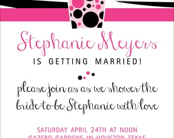 Pink Zebra Bridal Shower Invitation - Printable {Accent Color is Customizable}