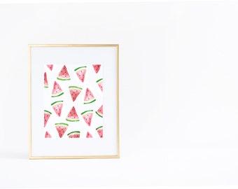 Summer Wall Art Print | Watermelon | Pattern | Watercolor | Instant Download