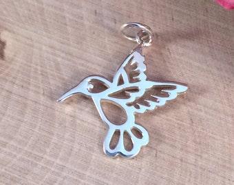 Hummingbird Charm, Hummingbird Pendant, Sterling Silver Hummingbird Charm, Bird Charm, Bird Pendant, Jewelry Supplies, PS0145