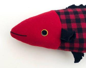 Red Buffalo Plaid laine poisson coussin poupée cabine océan décor