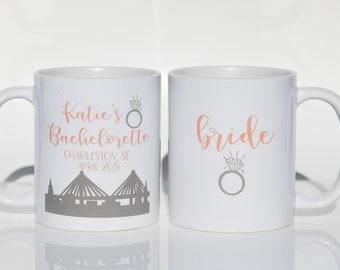 Charleston Bachelorette Party Mugs - Bachelorette Party Favors, Bachelorette Party Ideas, Personalized Ceramic Coffee Mugs