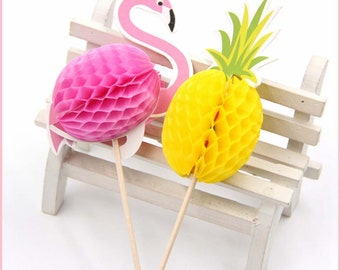 20 pc Pineapples Flamingos Party Supplies Cardboard Cupcake Toppers PF530