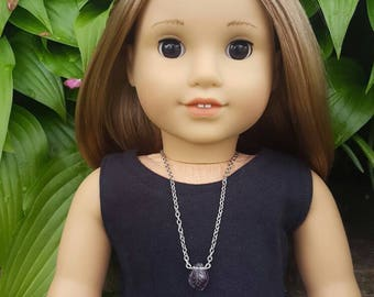 American girl doll purple glass leaf necklace