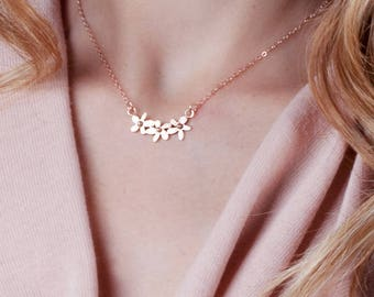 Rose Gold Flower Necklace, Dainty Necklace, Layered Necklace Rose Gold, Delicate Necklace, Wedding Jewelry, Bride Necklace, Silver, Gold