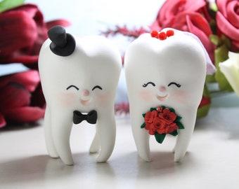 Molar Teeth wedding cake toppers - dentist bride groom dental hygienist odontologist oral surgeon funny cute figurines red burgundy maroon