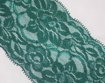 """4 yards dark forest green Stretch Galloon Lace lingerie hair ties Headband 3.25"""" wide"""
