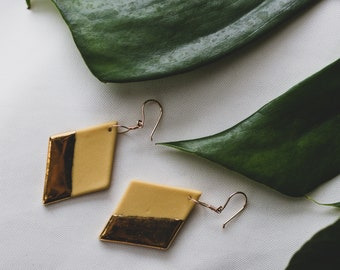 Ceramic Earrings | Mustard Earrings | Diamond Earrings