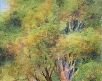 Original watercolor ACEO painting - Entering the woods