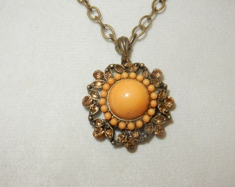 Vintage Amber Rhinestone Pendant Necklace, Vintage Rhinestone Necklace, Amber Rhinestone Necklace, Rhinestone Pendant Necklace, Gift for Her