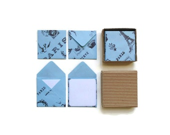 Blue Paris Mini Stationery Set - Cute, Tiny, Square Envelopes, Blank Note Cards, Thank You, Greetings, Gifts Under 15, I Love You