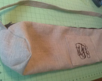 Monogram/Initial  Burlap Yoga Mat Bag Unlined