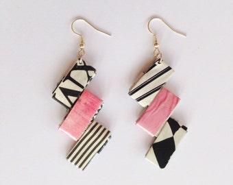 Pink black & white chevron earrings