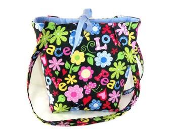 Hippie Purse, Small Tote Bag, Love, Peace, Flowers, Teen Purse, Handmade Handbag, Black Fabric Bag, Floral Cloth Purse, Shoulder Bag