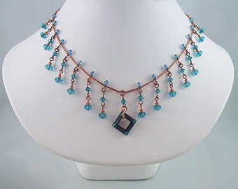 Copper and Bermuda Blue Swarovski Crystal Necklace