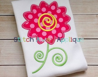 Swirly Flower Machine Applique Design