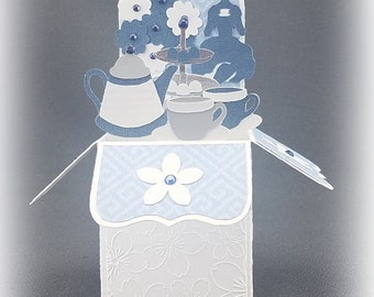 Handmade Teacup and Teapot card blue