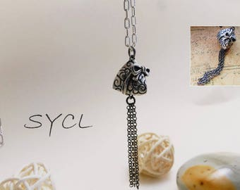 Rice Dumpling Silver Necklace. Handmade Item. 99% Sterling Silver Necklace.Original and Exclusive Design.Artisan Handmade by SYCL.