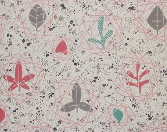 1950s Vintage Wallpaper Retro Mid Century Atomic Pink Turquoise Leaves by the Yard