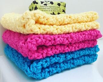 Cotton Washcloth • Cotton Dishcloth • Multiple Color Options • Set of 3 • 100% Cotton •