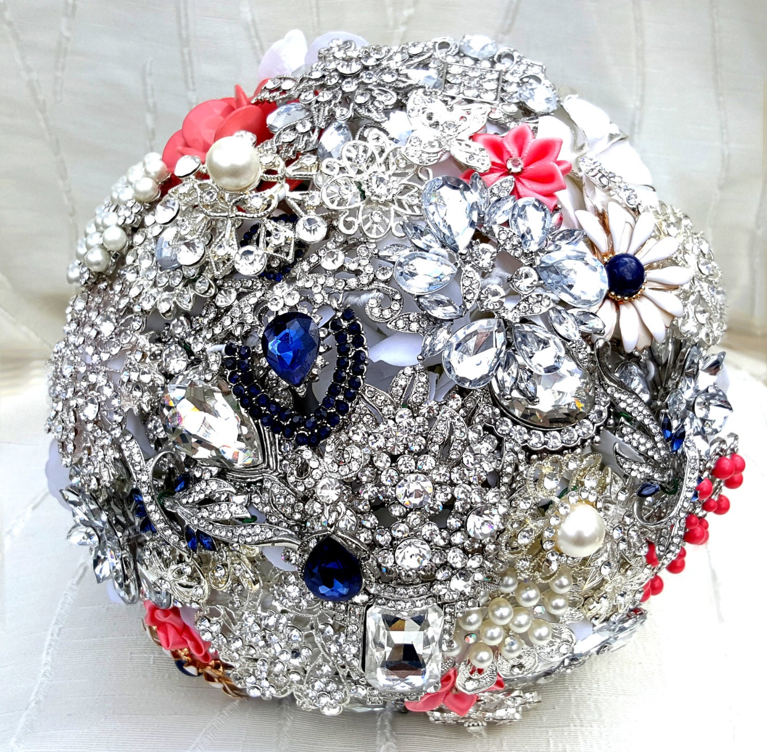 Wedding Flowers Bouquet Prices: FULL PRICE On A CUSTOM Made Brooch Bouquet Coral Navy Blue