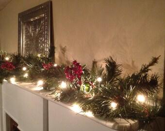 Christmas Mantle Red Berry Garland, Christmas Garland Holly Berry with Lights, Pine Mantle Garland, Staircase Garland, Christmas Decor