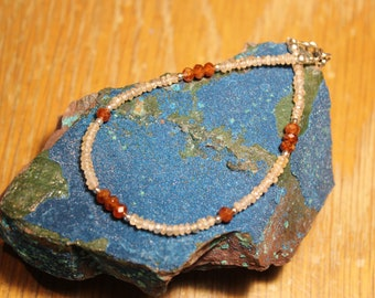 Hessonite garnet and topaz handmade bracelet, one of a kind only by EvyDaywear, natural stone and Sterling silver, burnt orange and peach