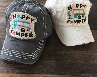 "Distressed ""Happy Camper"" Hat 