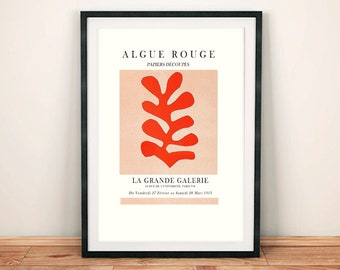 RED LEAF POSTER: Matisse Inspired Algue Rouge Gallery Exhibition Print