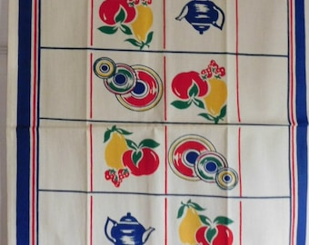 Vintage Plates, Tea Pots, Fruits and Cups Kitchen Towel-NOS